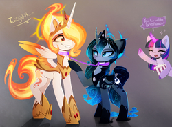Size: 2670x1966   Tagged: safe, artist:magnaluna, daybreaker, princess celestia, princess luna, twilight sparkle, alicorn, pony, unicorn, alternate design, alternate hairstyle, alternate universe, bat wings, chest fluff, collar, colored sclera, colored wings, cute, cutelestia, ear fluff, eye contact, eyes closed, fangs, female, floppy ears, food, frown, gray background, grin, halo, hoof hold, leash, leg fluff, lidded eyes, linked collars, looking at each other, lunabetes, magic, mare, nervous, open mouth, popcorn, raised leg, simple background, smiling, spread wings, twiabetes, underhoof, wings
