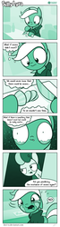 Size: 726x2698 | Tagged: artist:dori-to, bon bon, bon bon is not amused, clothes, comic, comic:silly lyra, crying, cutting, existential crisis, food, greenscale, hoodie, knife, lyra heartstrings, monochrome, onion, pony, safe, silly lyra, sweetie drops, unamused