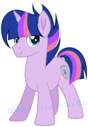 Size: 1634x2354 | Tagged: artist:shootingstaryt, base used, male, movie accurate, multicolored hair, multicolored mane, multicolored tail, next generation, oc, oc:night shine sparkle, oc only, offspring, parent:flash sentry, parents:flashlight, parent:twilight sparkle, pony, safe, simple background, solo, stallion, transparent background, unicorn, watermark