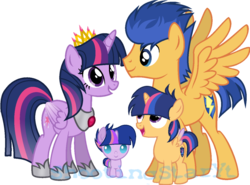 Size: 1024x758 | Tagged: alicorn, artist:shootingstaryt, baby, baby pony, base used, crown, family, female, filly, flashlight, flash sentry, jewelry, male, mare, multicolored hair, multicolored mane, multicolored tail, next generation, oc, oc:night shine sparkle, oc:starlight sparkle, offspring, parent:flash sentry, parents:flashlight, parent:twilight sparkle, pegasus, pony, regalia, safe, shipping, simple background, stallion, straight, transparent background, twilight sparkle, twilight sparkle (alicorn), unicorn, watermark