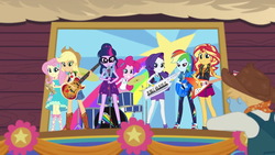 Size: 1280x720 | Tagged: applejack, bass guitar, drums, equestria girls, equestria girls series, fluttershy, flying v, guitar, humane five, humane seven, humane six, keytar, musical instrument, pinkie pie, rainbow dash, rarity, road trippin, safe, sci-twi, screencap, stage, sunset shimmer, tambourine, the rainbooms, twilight sparkle