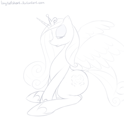 Size: 1024x1024   Tagged: safe, artist:longtailshort, princess cadance, alicorn, pony, bedroom eyes, cutie mark, female, hoof shoes, horn, horseshoes, lineart, lovebutt, mare, monochrome, plot, princess shoes, sitting, solo, stupid sexy princess cadance, wings