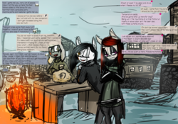 Size: 3800x2656 | Tagged: artist:tenenbris, dialogue, drug dealer, eyeshadow, makeup, oc, oc:aydia, oc:lillian, oc only, parka, safe, slavery, snow, story included, zebra, zebra oc