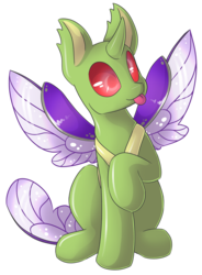 Size: 2430x3307   Tagged: safe, artist:sapphfyr, oc, oc only, changedling, changeling, :p, cute, cuteling, derp, raised hoof, silly, simple background, sitting, smiling, solo, spread wings, tongue out, transparent background, wings