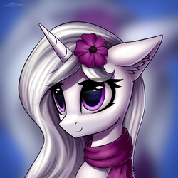 Size: 3000x3000   Tagged: safe, artist:setharu, oc, oc only, oc:nuclear storm, pony, unicorn, bust, clothes, commission, cute, ear fluff, female, flower, flower in hair, mare, ocbetes, portrait, scarf, signature, smiling, solo, zoom layer