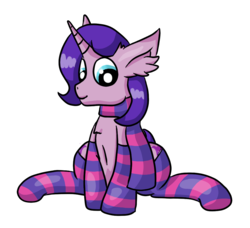 Size: 1105x1009 | Tagged: 2018 community collab, artist:raktor, chest fluff, clothes, derpibooru community collaboration, ear fluff, femboy, male, oc, oc:northern flame, oc only, safe, scarf, simple background, sitting, socks, solo, stallion, striped socks, transparent background, unicorn