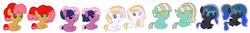 Size: 5064x672 | Tagged: safe, artist:amellia-rose, oc, oc only, alicorn, changepony, earth pony, pegasus, pony, unicorn, alicorn oc, heterochromia, magical lesbian spawn, offspring, parent:babs seed, parent:cheerilee, parent:fleur-de-lis, parent:limestone pie, parent:prince blueblood, parent:princess luna, parent:queen chrysalis, parent:twilight sparkle, parent:twist, parent:zephyr breeze, parents:babstwist, parents:cheerilight, parents:chrysaluna, parents:fleur-de-blueblood, parents:zephyrstone, story included