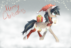 Size: 3000x2000 | Tagged: safe, artist:wacky-skiff, derpibooru exclusive, oc, oc only, oc:updraft, pegasus, pony, blue eyes, candy, candy cane, christmas, christmas lights, clothes, female, food, hat, holiday, lantern, mare, multicolored hair, present, scarf, snow, socks, stars, wings