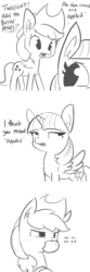 Size: 1650x4950 | Tagged: accent, alicorn, apple, applejack, applejack's hat, artist:tjpones, comic, cowboy hat, dialogue, duo, ear fluff, earth pony, female, food, grayscale, hat, mare, monochrome, mouth hold, open mouth, pear, pony, pun, safe, silly, silly pony, simple background, slice of life, that pony sure does hate pears, that pony sure does love apples, twilight sparkle, twilight sparkle (alicorn), white background