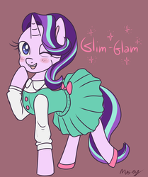 Size: 2003x2396 | Tagged: artist:lamentedmusings, blushing, blush sticker, clothes, cute, dress, female, glimmerbetes, looking at you, mare, one eye closed, open mouth, pony, raised hoof, safe, simple background, solo, starlight glimmer, wink