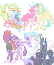Size: 1000x1200 | Tagged: safe, artist:creeate97, captain celaeno, fizzlepop berrytwist, pinkie pie, princess luna, princess skystar, queen novo, rainbow dash, tempest shadow, twilight sparkle, alicorn, anthro, classical hippogriff, earth pony, hippogriff, pegasus, pony, unicorn, my little pony: the movie, anthro with ponies, blushing, boop, broken horn, celaenodash, dialogue, ear piercing, earring, eye scar, female, flower, flower in hair, heart, jewelry, kissing, lesbian, lunovo, mare, noseboop, piercing, raised hoof, scar, shipping, simple background, skypie, speech, tempestlight, twilight sparkle (alicorn), white background