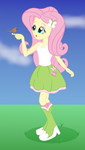 Size: 1334x2359 | Tagged: safe, artist:cybersquirrel, fluttershy, bird, equestria girls, bird on hand, boots, clothes, female, flat color, high heel boots, shoes, skirt, socks, solo