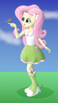 Size: 1334x2359 | Tagged: safe, artist:cybersquirrel, fluttershy, bird, equestria girls, bird on hand, boots, clothes, female, high heel boots, shading, shoes, skirt, socks, solo