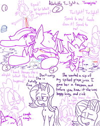 Size: 4779x6013   Tagged: safe, artist:adorkabletwilightandfriends, spike, starlight glimmer, twilight sparkle, alicorn, dragon, pony, comic:adorkable twilight and friends, absurd resolution, adorkable, adorkable twilight, comic, cute, dork, drool, drunk, drunk twilight, grape juice, juice, lineart, mucus, necktie, passed out, slice of life, snot, tipsy, twilight sparkle (alicorn), worried
