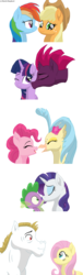 Size: 800x2624 | Tagged: safe, artist:sketch-shepherd, applejack, bulk biceps, fizzlepop berrytwist, fluttershy, pinkie pie, princess skystar, rainbow dash, rarity, spike, tempest shadow, twilight sparkle, alicorn, classical hippogriff, dragon, earth pony, hippogriff, pegasus, pony, unicorn, my little pony: the movie, appledash, eyes closed, female, flutterbulk, kissing, lesbian, male, mare, movie accurate, nuzzling, one eye closed, one eye open, open mouth, pairings, shipping, simple background, skypie, smiling, sparity, stallion, straight, tempestlight, transparent background, twilight sparkle (alicorn), vector