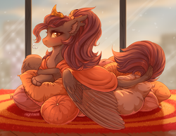 Size: 2500x1940 | Tagged: artist:nightskrill, blanket, blushing, carpet, chest fluff, crown, ear fluff, female, fluffy, hybrid, jewelry, looking at you, mare, oc, oc only, oc:shadowgale, original species, pillow, regalia, safe, solo, window, wings, yellow eyes