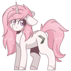 Size: 2048x2048 | Tagged: artist:cinnamontee, cutie mark, female, looking at you, mare, oc, oc only, pink mane, pony, purple eyes, safe, simple background, smiling, solo, transparent background, unicorn, white coat