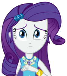Size: 564x640 | Tagged: artist:thebar, bracelet, equestria girls, equestria girls series, female, gem, jewelry, rarity, safe, simple background, solo, transparent background, worried