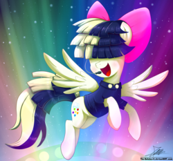 Size: 1871x1742 | Tagged: safe, artist:the-butch-x, songbird serenade, pegasus, pony, my little pony: the movie, bow, clothes, female, flying, hair bow, headworn microphone, mare, microphone, open mouth, smiling, solo, spread wings, wings