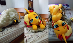 Size: 2036x1200 | Tagged: applejack, artist:nekokevin, bed, bedroom eyes, bedsheets, body pillow, earth pony, female, fluttershy, irl, life size, looking at you, lying down, mare, on back, pegasus, photo, pillow, plushie, pony, prone, safe, size difference, smiling, sunset shimmer, twilight sparkle, unicorn, upside down