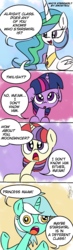 Size: 500x1714 | Tagged: alicorn, artist:emositecc, comic, derp, dialogue, faic, female, filly, filly lyra, filly moondancer, filly twilight sparkle, floppy ears, lyra heartstrings, mare, moondancer, open mouth, pony, princess celestia, safe, smiling, twilight sparkle, unicorn, younger