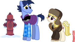 Size: 2714x1543 | Tagged: safe, artist:roger334, march gustysnows, oc, earth pony, pony, canada, fire hydrant, simple background, snow, transparent background