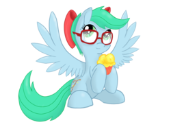 Size: 1024x768 | Tagged: safe, artist:coloringrainclouds, oc, oc only, oc:poppy snap, pegasus, pony, bow, cupcake, female, food, glasses, hair bow, mare, simple background, sitting, solo, transparent background