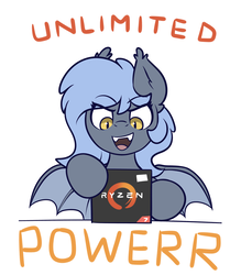 Size: 3500x4000 | Tagged: safe, artist:piesarts, oc, oc only, oc:panne, bat pony, pony, amd, bat pony oc, female, mare, open mouth, pc master race, processor, ryzen, simple background, smiling, solo, spread wings, unlimited power, white background, wings