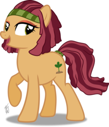 Size: 2051x2383 | Tagged: safe, artist:mlp-scribbles, oc, oc only, oc:merry mertle, pony, commission, female, hairband, high res, inkscape, mare, open mouth, ponyscape, signature, simple background, solo, tail band, transparent background, vector