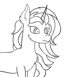 Size: 1396x1408   Tagged: safe, artist:mynillion, oc, oc only, oc:mynillia, pony, unicorn, cheek fluff, chest fluff, ear fluff, fluffy, lineart, solo