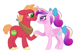 Size: 1100x800 | Tagged: alicorn, artist:carouselunique, big macintosh, blushing, cadmac, cute, dawwww, earth pony, female, male, mare, pony, princess cadance, safe, shipping, simple background, smiling, straight, teenage big macintosh, teenager, teen princess cadance, transparent background