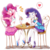 Size: 1400x1400 | Tagged: safe, artist:fromamida, pinkie pie, rarity, equestria girls, equestria girls series, armpits, blushing, cake, clothes, eyes on the prize, female, food, heart, high heels, lesbian, looking at each other, open mouth, pantyhose, parfait, pictogram, raripie, shipping, shoes, smiling
