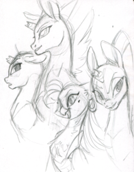 Size: 1280x1634 | Tagged: anthro, artist:php27, broken horn, captain celaeno, female, mare, monochrome, my little pony: the movie, safe, sketch, solo, tempest shadow, traditional art, unicorn