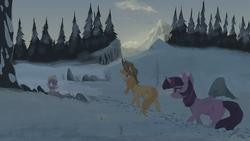 Size: 1920x1080 | Tagged: safe, artist:hierozaki, applejack, spike, twilight sparkle, alicorn, dragon, pony, cowboy hat, hat, open mouth, scenery, snow, stetson, tree, twilight sparkle (alicorn)