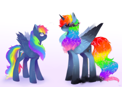 Size: 1280x918 | Tagged: artist needed, source needed, safe, rainbow dash, alicorn, secrets and pies, ..., adorapiehater, alicornified, blushing, cute, dashabetes, duo, evil pie hater dash, female, looking at each other, nightmare rainbow dash, nightmarified, race swap, rainbowcorn, self ponidox