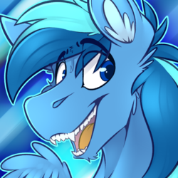 Size: 1800x1800 | Tagged: artist:ralek, avatar, bust, ear fluff, fangs, oc, oc only, oc:umami stale, open mouth, pegasus, pony, portrait, safe, solo, teeth