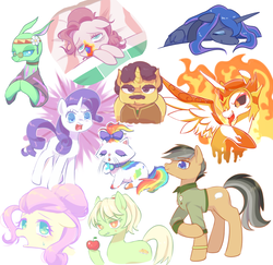 Size: 1280x1242   Tagged: safe, artist:kkmrarar, coriander cumin, daybreaker, fluttershy, free love (changedling), granny smith, opalescence, pinkie pie, princess luna, quibble pants, rarity, changedling, changeling, pony, 28 pranks later, a royal problem, flutter brutter, season 6, spice up your life, stranger than fan fiction, the perfect pear, to change a changeling, alternate hairstyle, angry, apple, bed, clothes, cookie zombie, cute, eyes closed, female, floppy ears, food, glasses, hippieling, leaning, licking, looking at you, male, mare, open mouth, rainbow muzzle, sad, sadorable, simple background, smiling, stallion, sweat, sweatdrop, tongue out, white background, young granny smith, younger
