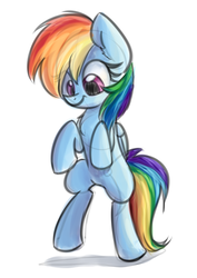 Size: 763x1080 | Tagged: artist:littleblackraencloud, bipedal, chest fluff, cute, dashabetes, ear fluff, female, folded wings, looking down, mare, pegasus, pony, rainbow dash, safe, simple background, smiling, solo, standing, white background