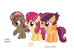 Size: 1080x718 | Tagged: artist:lynnqueenofsports, next generation, oc, oc:apple dance, oc only, oc:song gamer, oc:storm dash, offspring, parent:apple bloom, parent:button mash, parent:rumble, parent:scootaloo, parents:rumbloo, parents:sweetiemash, parents:tenderbloom, parent:sweetie belle, parent:tender taps, safe