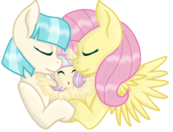 Size: 1000x764 | Tagged: safe, artist:missbaseuser, coco pommel, fluttershy, oc, pony, baby, baby pony, base used, cocoshy, crack shipping, family, female, lesbian, magical lesbian spawn, next generation, offspring, parent:coco pommel, parent:fluttershy, parents:cocoshy, shipping