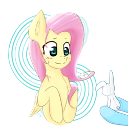 Size: 4000x4000 | Tagged: safe, artist:yinglongfujun, fluttershy, rainbow dash, pegasus, pony, absurd resolution, blushing, chest fluff, cute, ear fluff, eyes on the prize, female, folded wings, hoof hold, hooves, hooves to the chest, looking at something, mare, offscreen character, plushie, shyabetes, simple background, smiling, solo focus, underhoof, white background