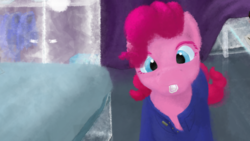 Size: 1920x1080   Tagged: safe, artist:the-brightest-sunny-days, pinkie pie, earth pony, clothes, crossover, glass, solo, we (novel)