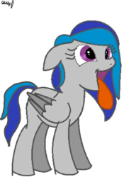 Size: 1440x2056 | Tagged: safe, oc, oc only, oc:cobalt, oc:cobalt skies, object pony, original species, pegasus, pony, element pony, ponified, tongue out
