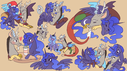 Size: 1500x837   Tagged: safe, artist:kiyoon, discord, princess luna, alicorn, draconequus, pony, antlers, blushing, cellphone, christmas, clothes, cuddling, duo, eye contact, eyes closed, female, floppy ears, glowing horn, hat, heart, holiday, iphone, looking at each other, looking at you, lunacord, magic, male, mare, open mouth, phone, red nose, s1 luna, santa hat, scarf, selfie, sharing a drink, shipping, sleeping, smiling, spread wings, straight, telekinesis, wings