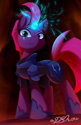 Size: 720x1112 | Tagged: safe, artist:dshou, tempest shadow, pony, unicorn, my little pony: the movie, armor, broken horn, eye scar, female, glowing horn, horn, looking at you, looking down, mare, scar, smiling, solo, sparking horn