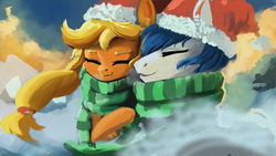 Size: 1920x1080 | Tagged: safe, artist:hierozaki, applejack, oc, oc:constance everheart, pony, canon x oc, christmas, clothes, everjack, eyes closed, female, hat, holiday, male, santa hat, scarf, shipping, straight