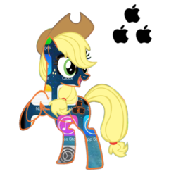 Size: 894x894 | Tagged: safe, edit, applejack, pony, apple (company), cowboy hat, cutie mark background, female, food, hat, iphone, pun, rearing, simple background, solo, transparent background