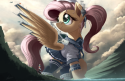 Size: 2500x1618 | Tagged: safe, artist:ncmares, fluttershy, boatpony, pegasus, pony, aircraft carrier, anime, azur lane, bandage, bandaid, clothes, cloud, crossover, cute, female, flutterkaku, flutterprise, giant pony, giantess, kantai collection, lighthouse, macro, mare, plane, pleated skirt, ponytail, raised hoof, shipmare, shyabetes, signature, skirt, skirt lift, sky, socks, solo, spread wings, stockings, story in the comments, thigh highs, water, wings, zettai ryouiki