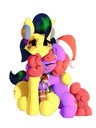 Size: 2840x3771 | Tagged: safe, artist:n0nnny, oc, oc only, oc:mixi creamstar, oc:tinker toy, oc:violet patronage, earth pony, pegasus, pony, 2018 community collab, derpibooru community collaboration, :p, blushing, clothes, galaxy mane, hat, hug, open mouth, plushie, scarf, silly, simple background, teeth, tongue out, toy, transparent background, viostar