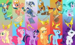Size: 5400x3300 | Tagged: safe, artist:cuboneminer, artist:grievousfan, artist:jhayarr23, artist:shiningwaterfall, derpibooru exclusive, applejack, flash magnus, fluttershy, meadowbrook, mistmane, pinkie pie, rainbow dash, rarity, rockhoof, somnambula, star swirl the bearded, twilight sparkle, alicorn, earth pony, pegasus, pony, unicorn, spoiler:s07, beard, big crown thingy, braid, clothes, element of beauty, element of bravery, element of generosity, element of healing, element of honesty, element of hope, element of kindness, element of laughter, element of loyalty, element of magic, element of sorcery, element of strength, elements of harmony, facial hair, female, flower, gradient background, healer's mask, jewelry, male, mare, mask, mistmane's flower, moustache, netitus, pillars of equestria, raised eyebrow, raised hoof, regalia, rockhoof's shovel, shield, show accurate, somnambula's blindfold, stallion, starswirl's book, twilight sparkle (alicorn)
